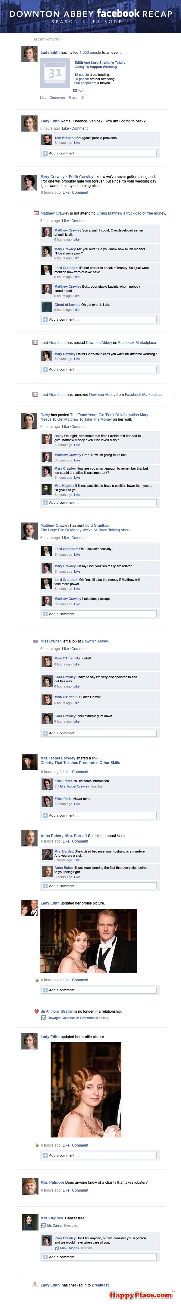 SPOILER ALERT!!! If this past Sunday's Downton Abbey took place entirely on Facebook.