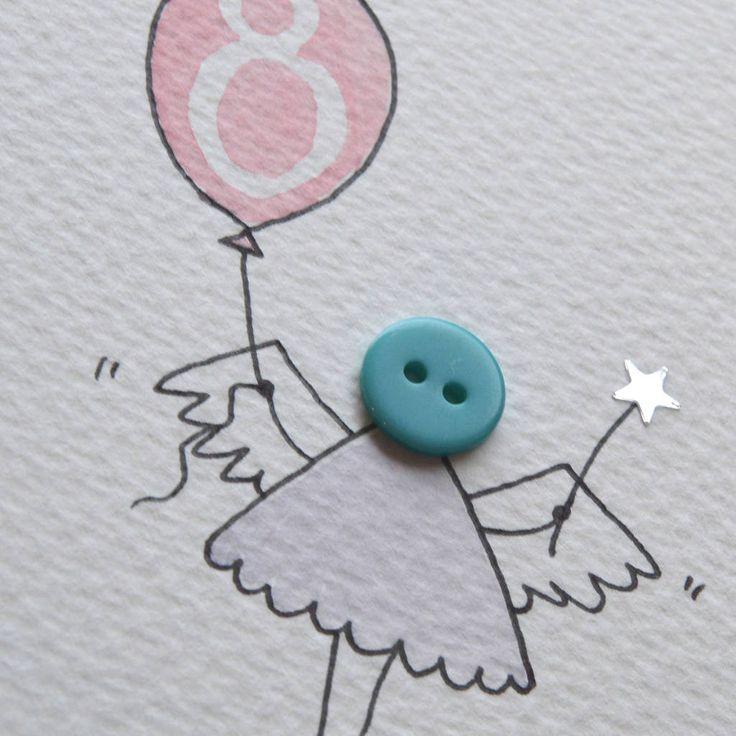 Personalised 'Button Fairy' Handmade Birthday Card