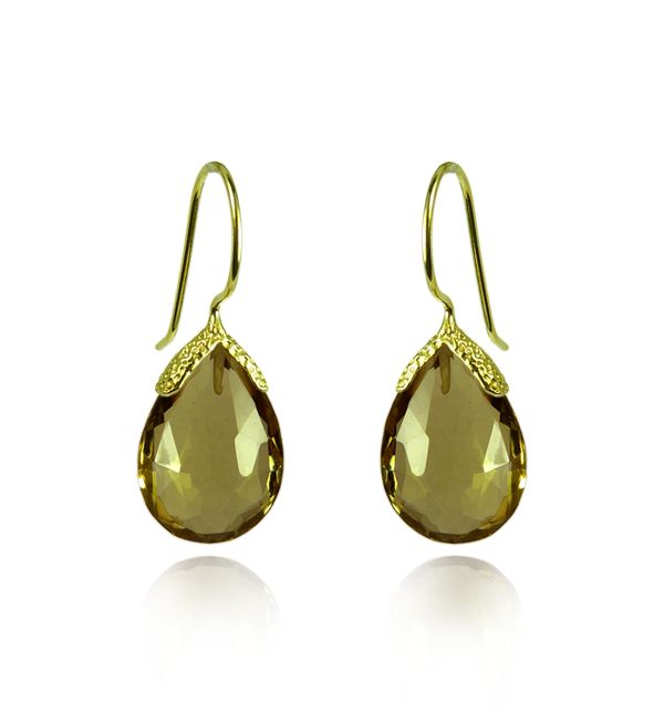 Cognac Quartz Vermeil Earrings