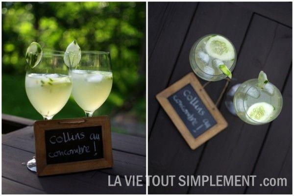 Cocktail Collins au concombre avec du gin Bombay Sapphire sur www.lavietoutsimplement.com