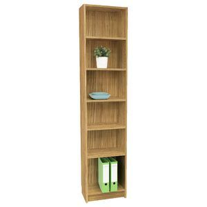 Orson 6 Shelf Slim Bookcase Oak