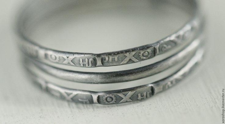 Купить комплект из трех серебряных колец с чеканкой - серебряный, кольцо, серебряное кольцо