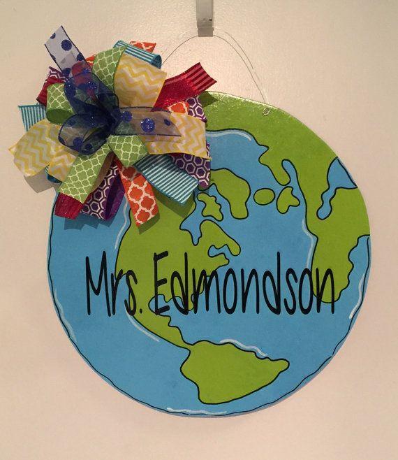 Earth Door Hanger, Teacher Door Hanger, Classroom Door Hanger, Back To School, Social Studies , Earth Day, Science
