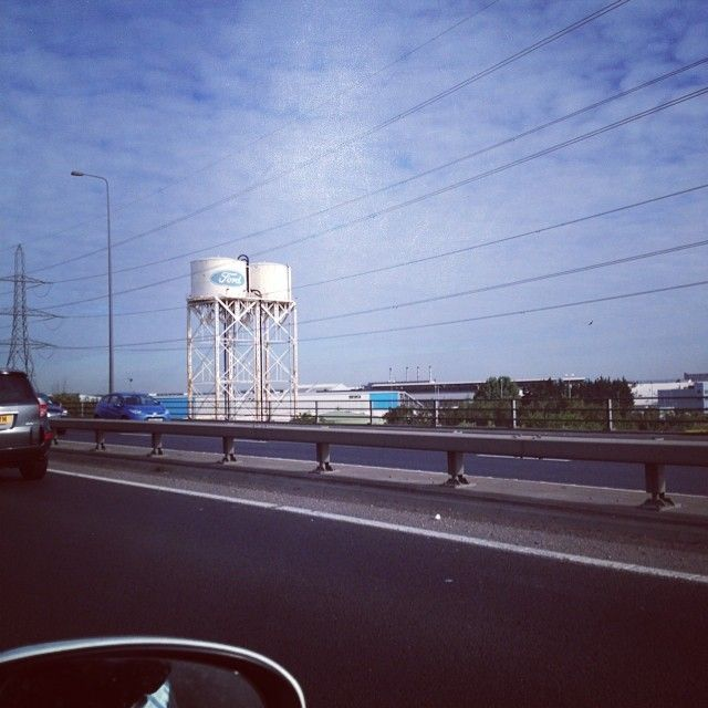 Water towers at Fords, Dagenham, Essex, UK