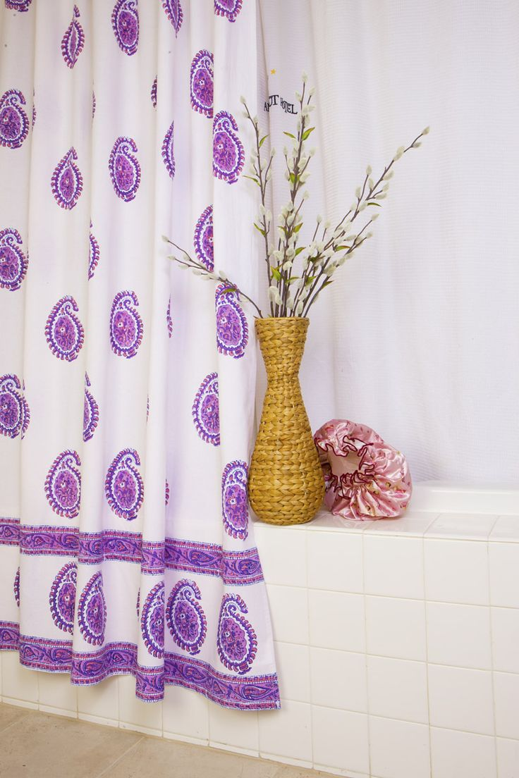 Country Style Shower Curtains Purple Fabric Shower Curtain Hand Block Printed From Attiser