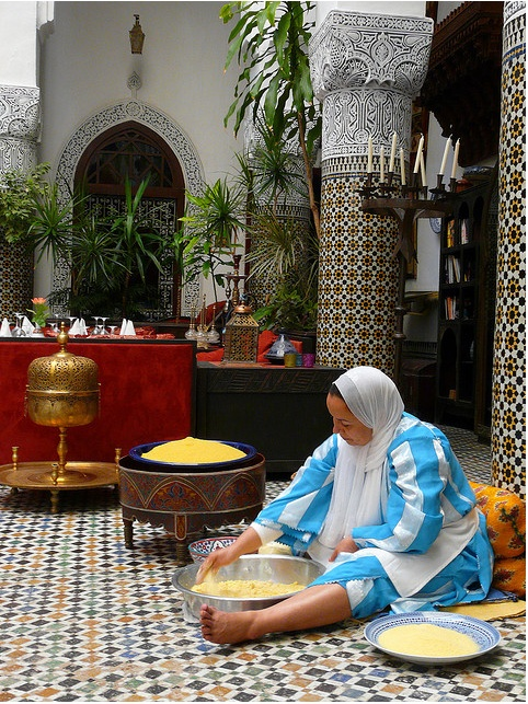 Morocco-Couscous is the traditional meal on Friday afternoon.