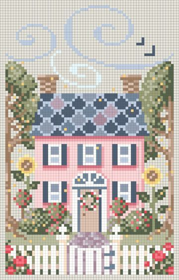Broderie maison rose