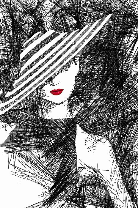 Elegant woman with a hat in black and white. Facial Expressions series.  Woman Sketches - Digital Art Rafael Salazar Artist from #Colombia Copyright 2013