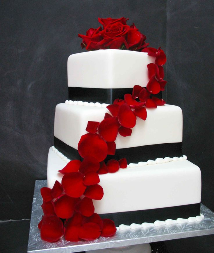 Wedding Cakes: White and black wedding cake with bright red flowers