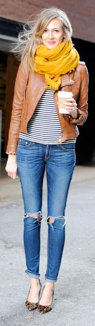Outfit Posts: outfit post: striped shirt, cognac jacket, rockstar skinny jeans, mustard scarf, black ankle booties