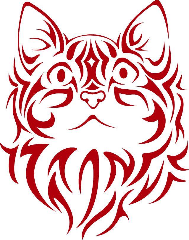 Tribal Cat Face vinyl decal