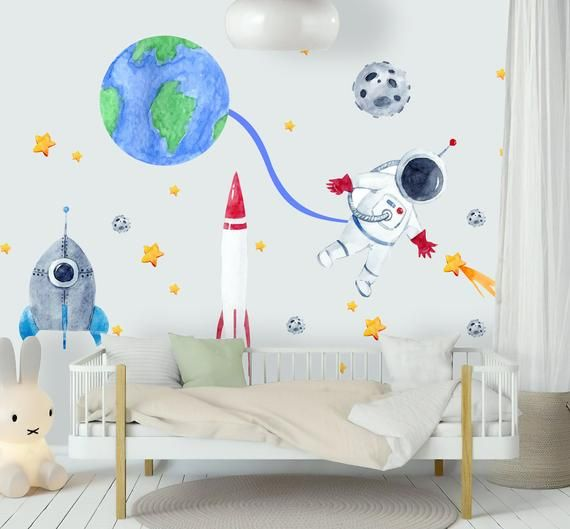 Kids Wall Decal For Boys Wall Decals Watercolor Space Wall