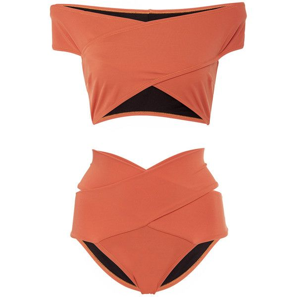 OYE Swimwear Lucette Banded Bikini Set (9 395 UAH) ❤ liked on Polyvore featuring swimwear, bikinis, orange, orange bikini, bikini swim wear, 2 piece swimwear, two piece bikini and oye swimwear