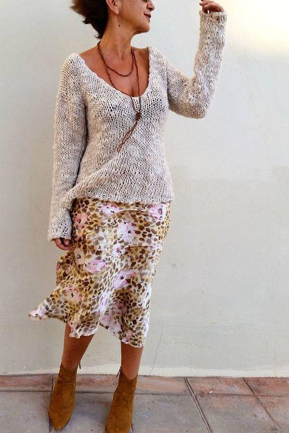 Jersey Wolle gebrochen weißes Trikot Pullover Frauen weiße