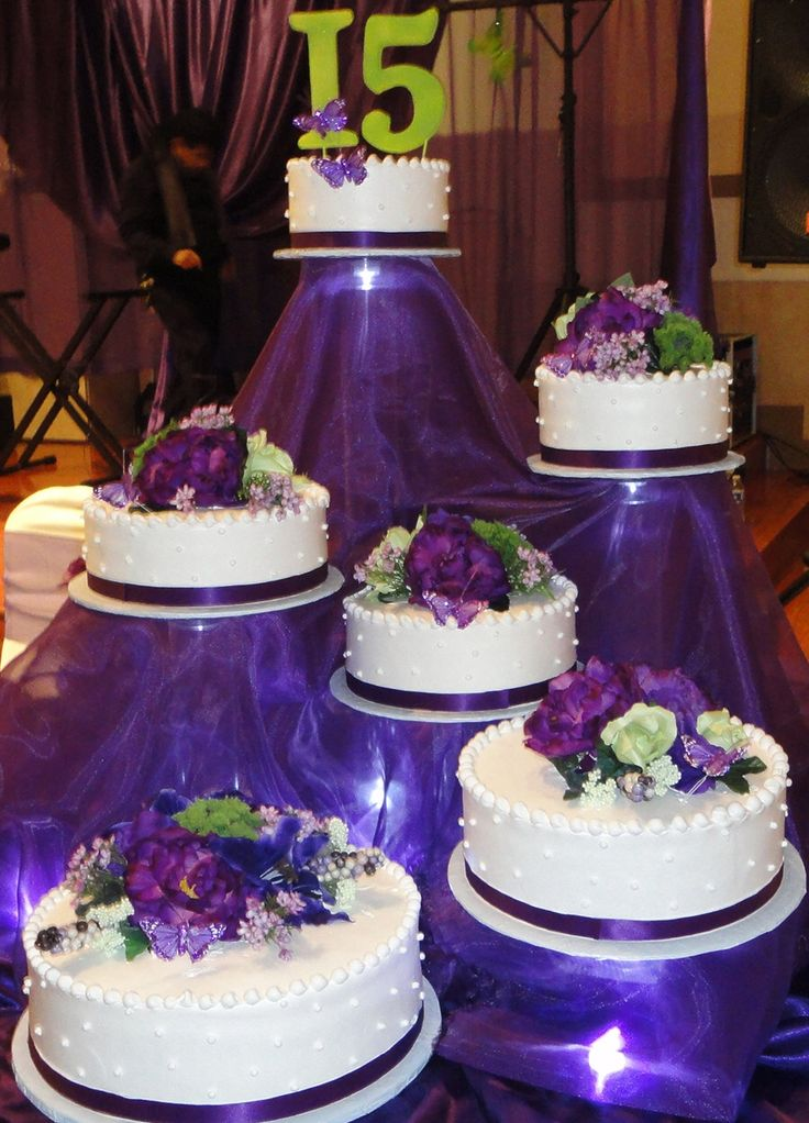 Purple Pink Wedding Cake
