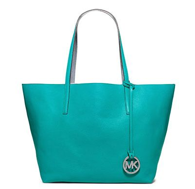 Leather Totes & Travel Tote Bags | Michael Kors--turquoise sea color, perfect tote.  Spray with MK's purse conditioner when it's brand new, next day, buff and fill with an iPad, cell, magazine, paperback, towel, along with the perfect inside clip.  Never rifle thru your purse for keys again!
