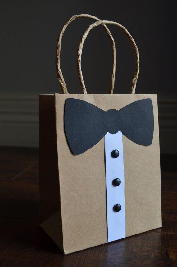 Tuxedo Gift Bags Groomsmen Gift Bridal by JaxxAndTheBeanstalk