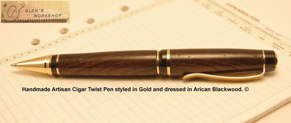Ballpoint Pen Handmade Pen African Blackwood & 24 by GlensWorkshop, $59.95