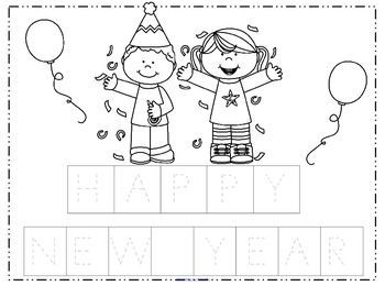 FREE Make a Happy New Year poster - Cut and paste the mixed up letters onto the grey letters on the poster mat. Decorate the picture. Add some sequins and streamer pieces? 2 pages plus cover.