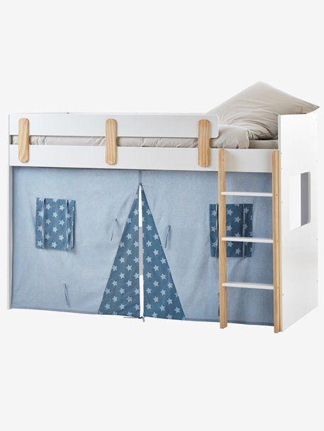 Bettvorhang Für Kinder Hochbett Blau Bedruckt Rosa