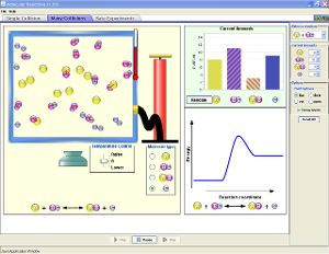 Reactions & Rates simulation from PhET: students can explore how the rate of reaction changes with concentrations and temperature