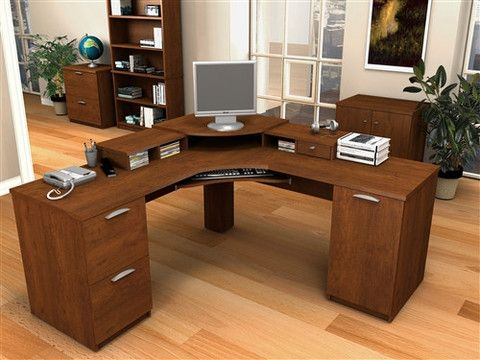 Elite Collection Premium Corner Workstation In Tuscany Brown U2013  OfficeDesk.com