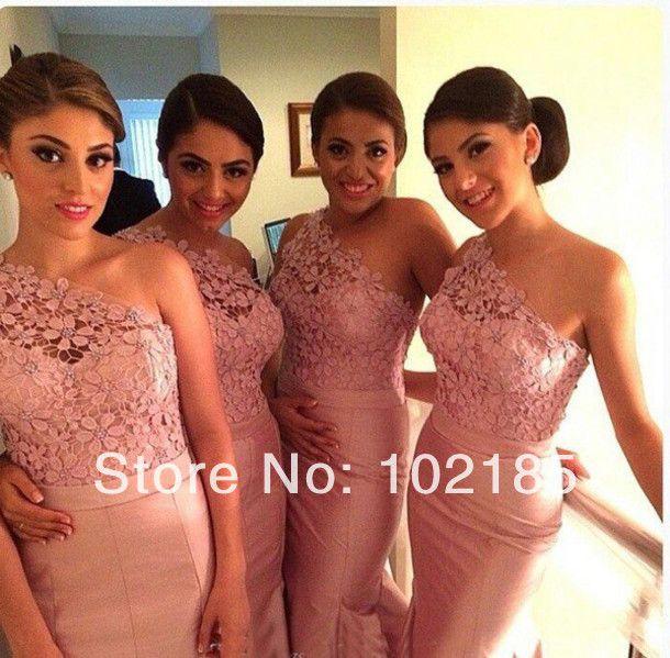 2014 nueva llegada de color melocotón de sirena de satén encaje vestido de dama de honor vestidos largos de de bdg9