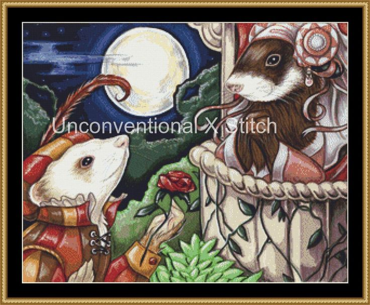 Shakespeare cross stitch pattern - Romeo and Juliet Ferrets -  modern counted cross stitch - Licensed Natalie Ewert by UnconventionalX on Etsy