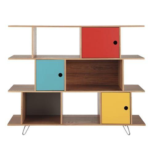 Meerkleurige houten boekenkast B 145 cm