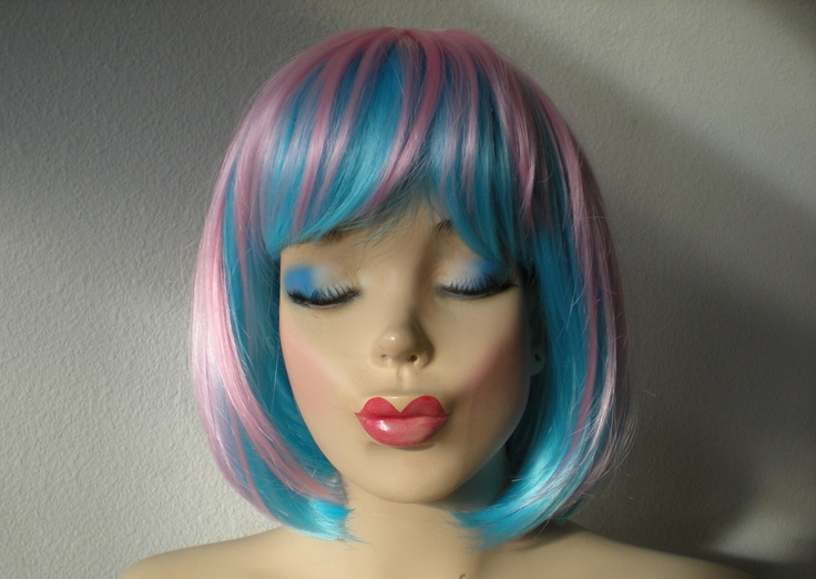 Wig. Blue \/ pink wig. Ombre blue\/pink wig. Blue\/ pink mix colored wig ...
