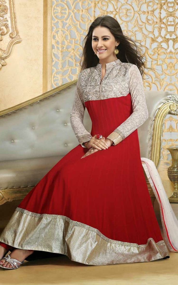 Classy Off White & Red Anarkali Salwar Suit (DIF 28515)
