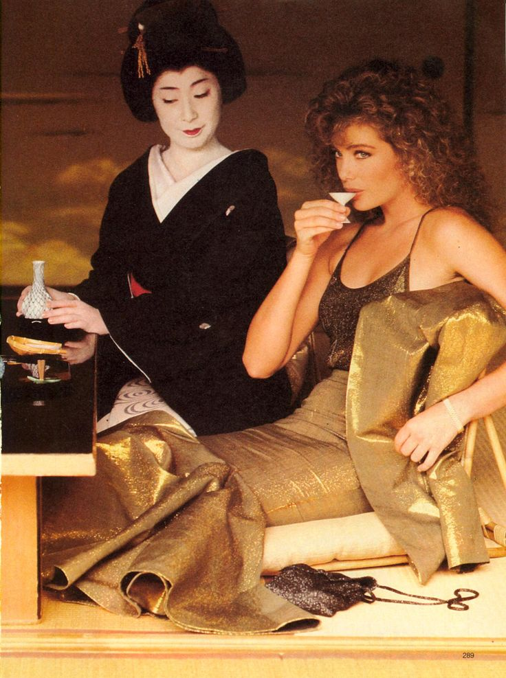 In Japan The Attraction of Opposites...A Special Fashion Adventure Starring Kelly LeBrock Photo Denis Piel  Model Kelly LeBrock US VOGUE December 1985