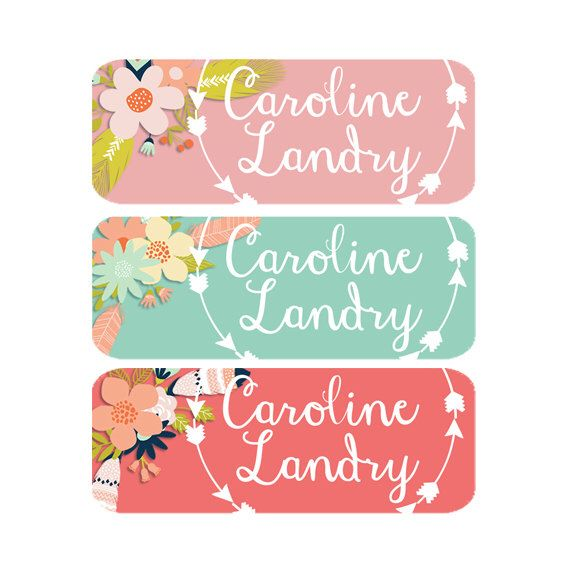 Daycare Labels, Name Labels, Girl, Waterproof Labels, Dishwasher Safe, Baby Bottle Labels, Daycare Name Labels, Flowers, Pink, Mint by ModishCC on Etsy https://www.etsy.com/listing/220849531/daycare-labels-name-labels-girl