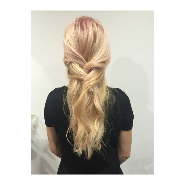 Pink blonde hair with a touch of braids by Mia Doak