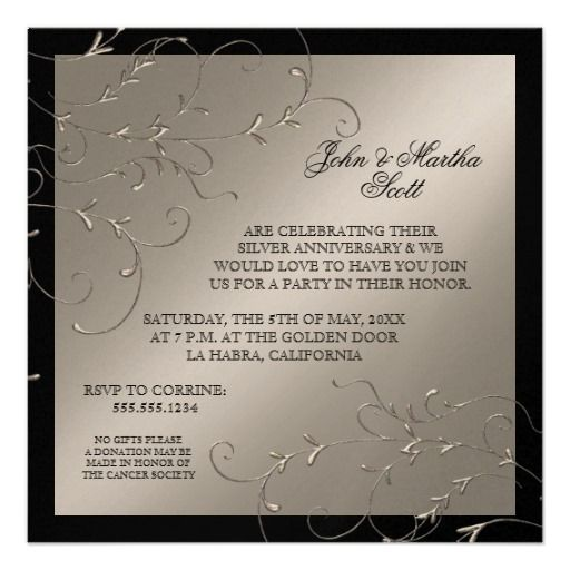 185 best anniversary party invitations images on pinterest celebrating 25 years 25th anniversary invitation stopboris Gallery