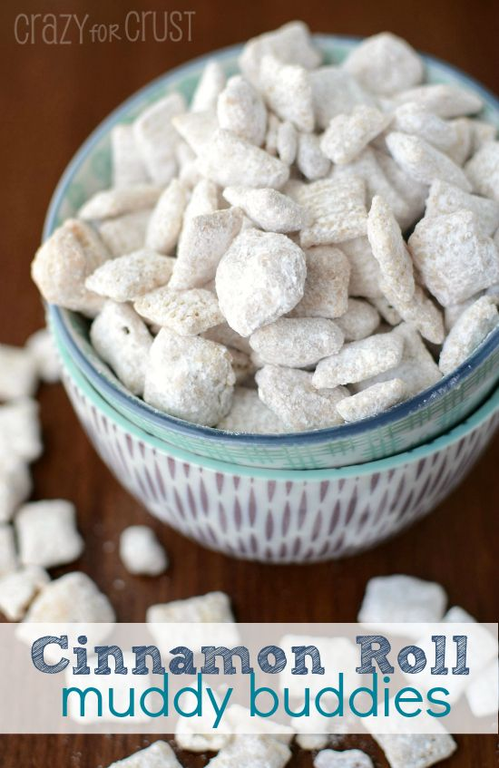 Cinnamon Roll Muddy Buddies by crazyforcrust.com | An easy snack, filled with cinnamon and vanilla flavor!