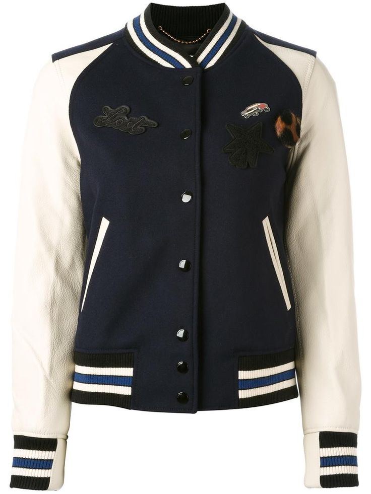 ¡Cómpralo ya!. Coach - Patch-Embellished Varsity Jacket - Women - Leather/Nylon/Viscose/Wool - 12. Navy wool and leather patch-embellished varsity jacket from Coach. Size: 12. Color: Blue. Gender: Female. Material: Leather/Nylon/Viscose/Wool. , chaquetadecuero, polipiel, biker, ante, antelina, chupa, decuero, leather, suede, suedette, fauxleather, chaquetadecuero, lederjacke, chaquetadecuero, vesteencuir, giaccaincuio, piel. Chaqueta de cuero  de mujer color azul claro de Coach.