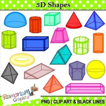 3D Shapes Clip art Black, Art and Simple