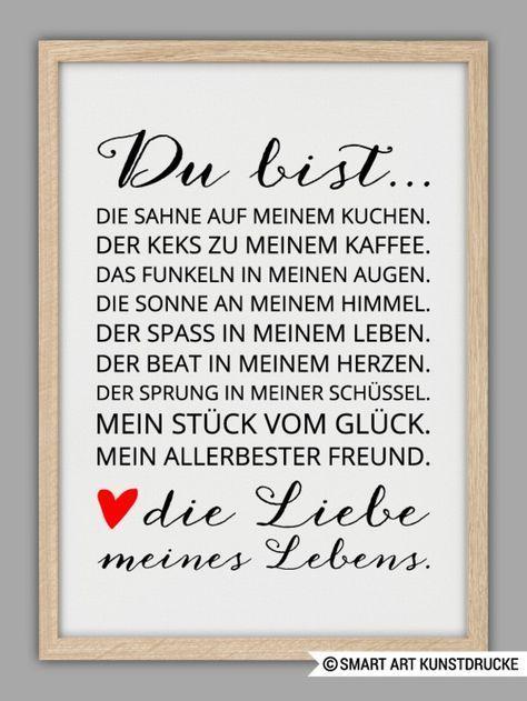 """Romantisches Poster """"Du bist die Liebe meines Lebe…"""