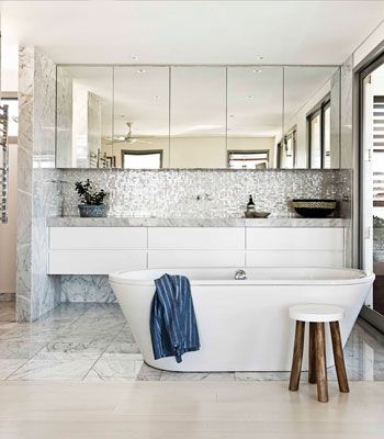 Bathroom Renovation Ideas 10. (wall of mirror cabinets. kitchen counter thickness for floating vanity.)
