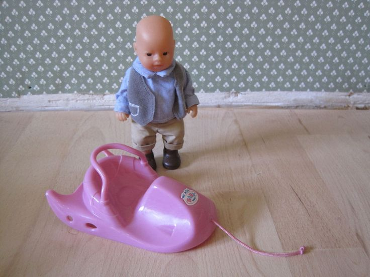 Baby Born Mini world Schlitten mit Puppe Puppenjunge