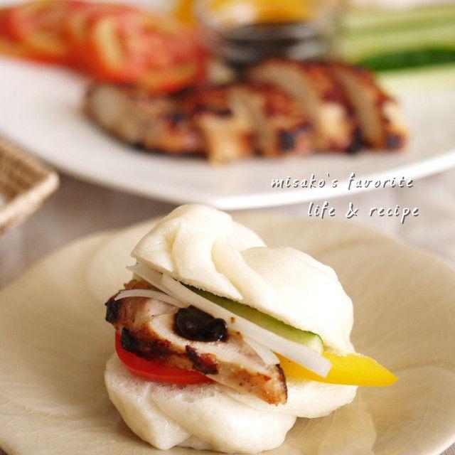 ふわふわ花巻& 鶏の味噌漬け焼きサンド