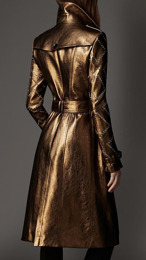 Long Eyelet Detail Metallic Leather Trench Coat | Burberry
