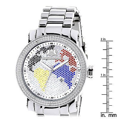 This Luxurman World Map Mens Diamond Watch is a limited addition men's wrist watch and features 0.12 carats of genuine diamonds around the bezel, a polished gold plated metal case with gold plated metal band and a dial paved in multicolor stones. This LUXURMAN diamond watch is water-resistant to 30 m (110 ft).