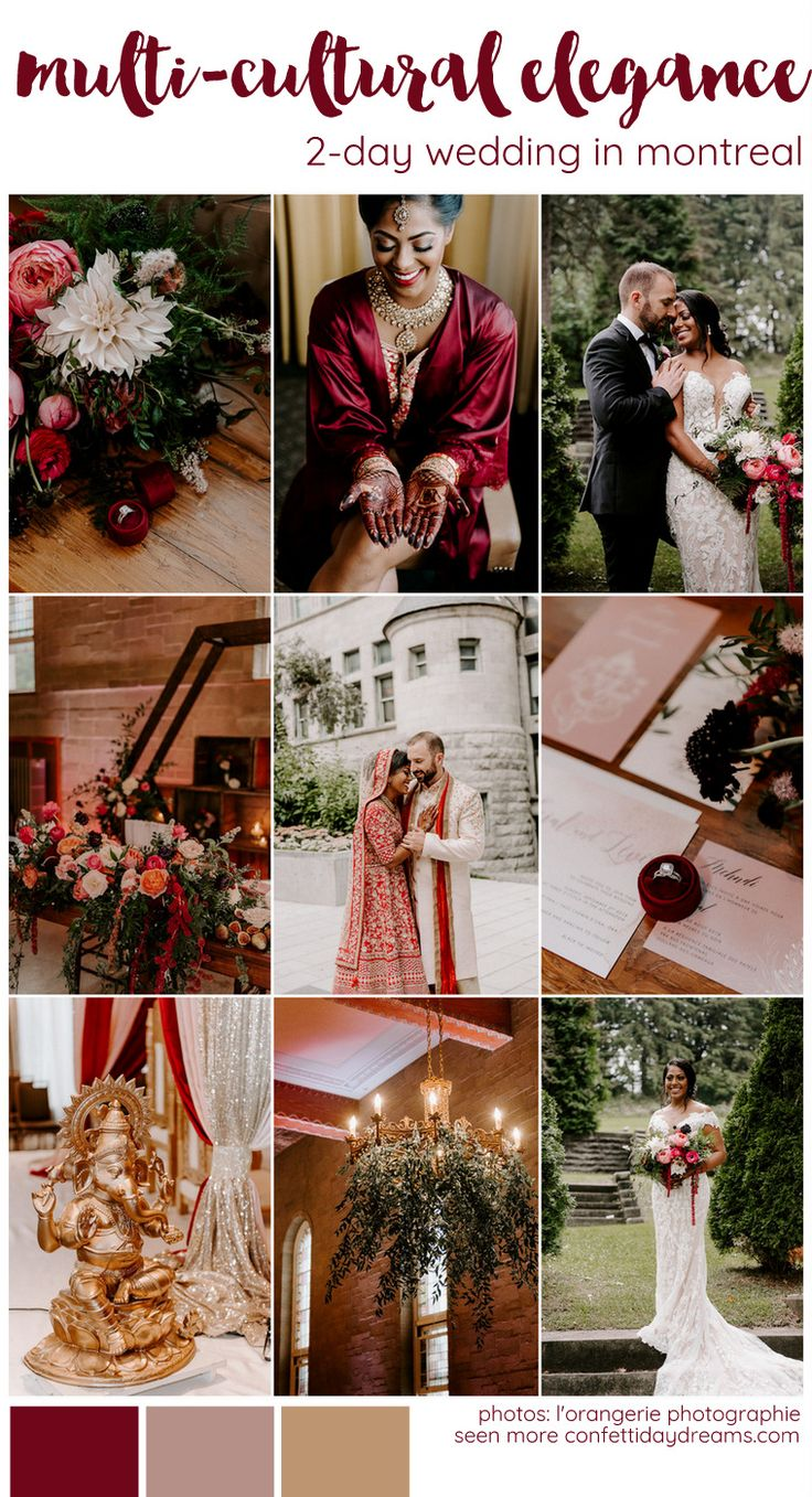 2-Day Love Celebration in Red + Gold: Multicultural Indian & Canadian Wedding