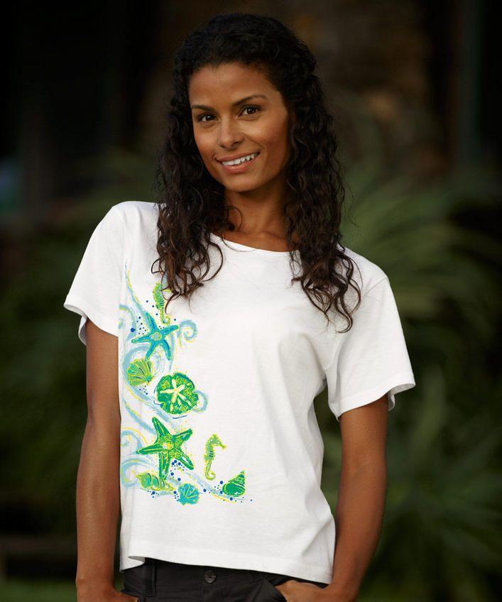 Sea Life Shells - White Scoop-Neck T-Shirt