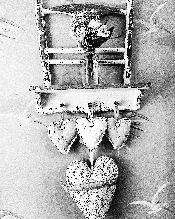 Black and white vintage chair on the wall #vintagestyle #vintagehome #constancewallace #teashop #theteashop #barntgreen #heart #fabricheart #vintagecraft #lovecrafts #blackandwhite