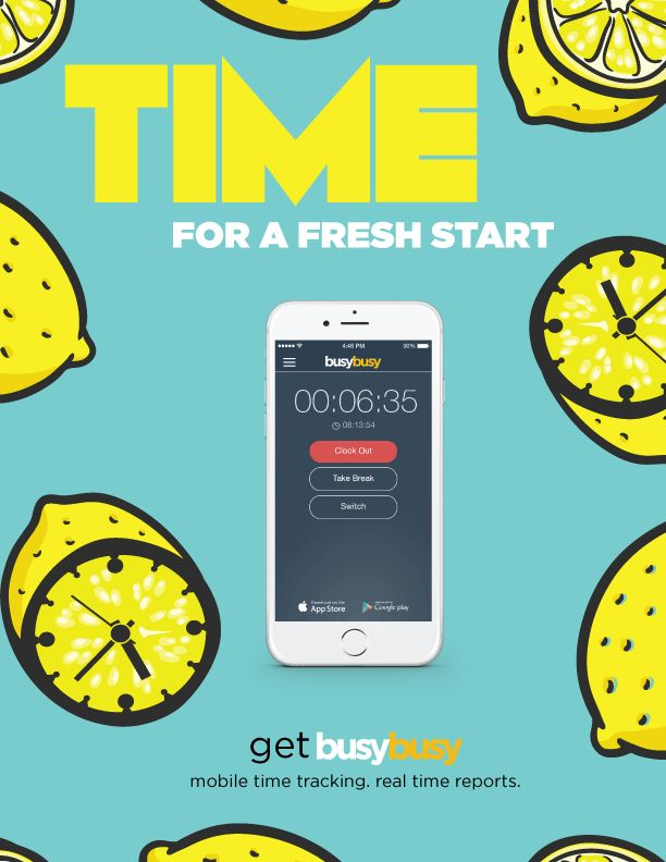 It's TIME for a fresh start. Get busybusy and take your company's time cards mobile. GPS stamped clock in/out technology allows you to track time efficiently and paperless. Then, with one simple click, you can export data into any payroll software. It's almost too easy.