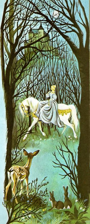 """Illustration by Janet and Anne Grahame Johnstone for """"Beauty and the Beast"""", from 'A Book of Fairy Tales', published by Dean & Son Ltd. of London, 1977."""