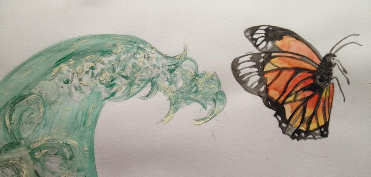 The Butterfly Effect: water colour to be made into a fabric print and wallpaper.